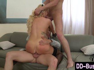 Natural boobed cum slut