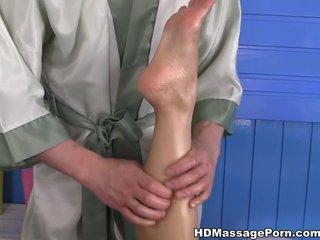 Naked girl with big tits Kira massaged