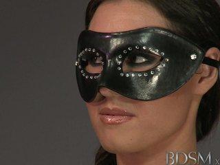 BDSM XXX Sexy masked brunette sub squirts
