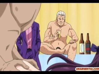 Bondage hentai coed gangbang and splash cum