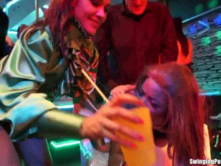 Sinfully chicks take fat pricks in club