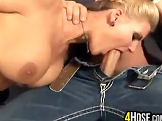 Busty Blonde Whore Riding A Cock